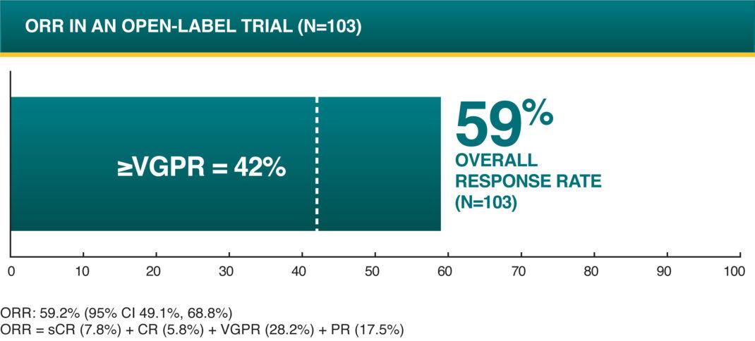 POMALYST ® + dexamethasone + daratumumab (DPd) Overall Response Rate - ORR in an Open -Label Trial (N=103)